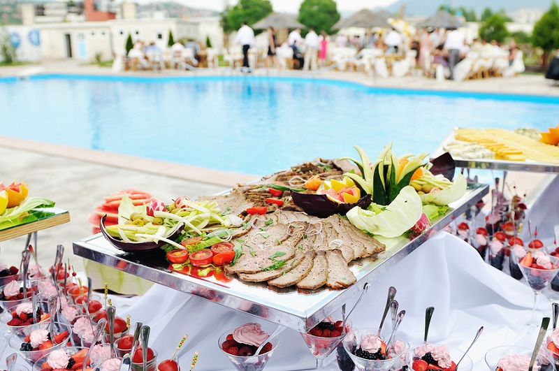 catering buffet food outdoor in luxury restaurant with meat and