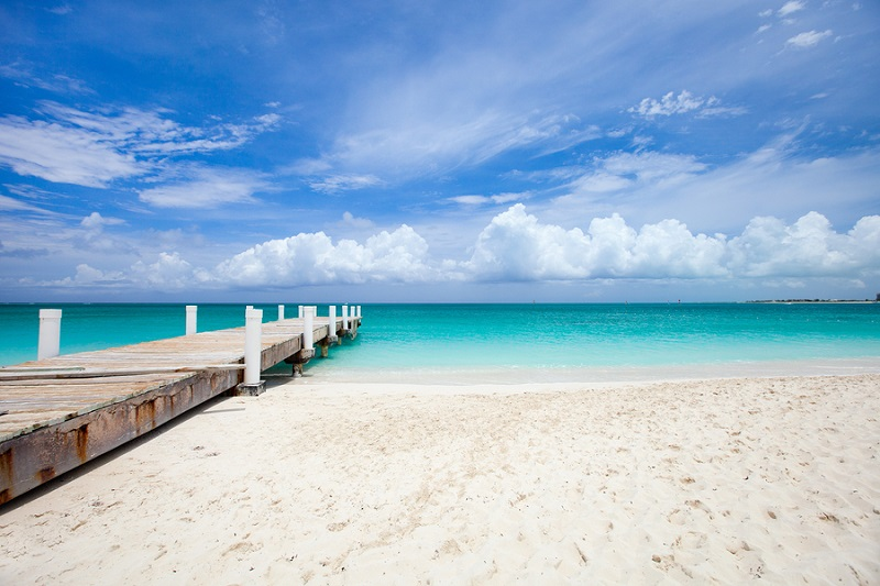 Beautiful beach at Caribbean Providenciales island in Turks and