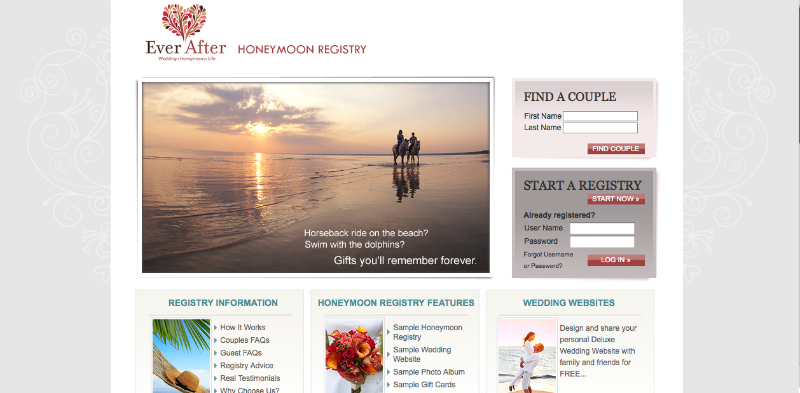 Ever After Honeymoon Registry Website