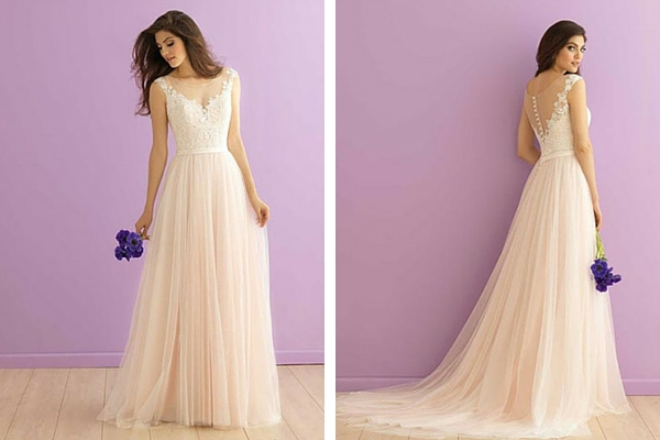 Blush Beach Wedding Dress with Sleeves