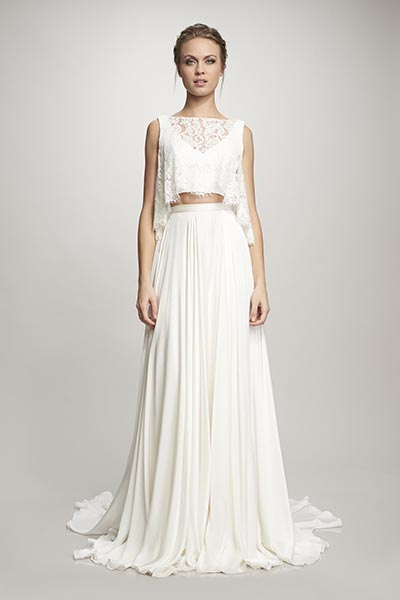 Crop Trop Wedding Dress :: Two Piece wedding dress for Beach weddings