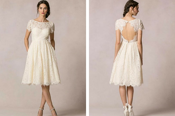 Sweet short tea length lace wedding dress for destination weddings
