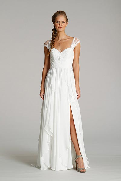 High Slit Wedding Dress with cap sleeves