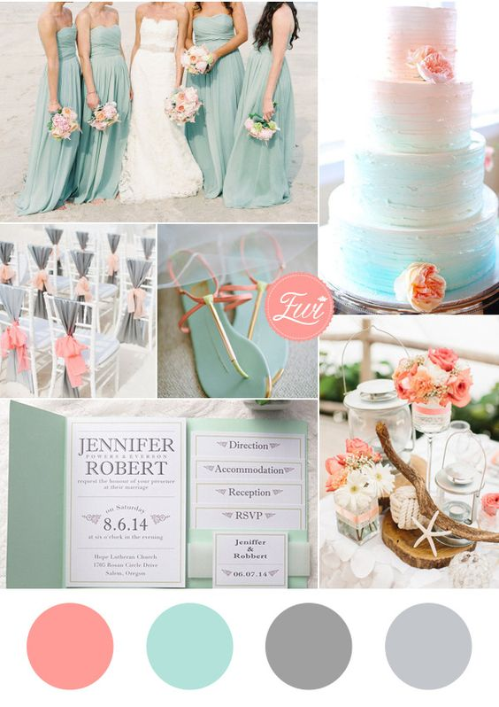 Ever after blog a wedding blog wedding color schemes for beach seafoam beach wedding colors junglespirit Image collections