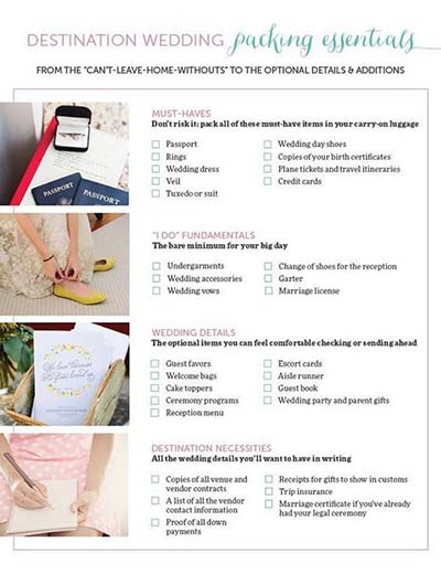 Packing Check List for Destination Weddings