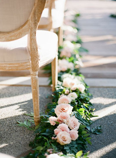 Wedding Flower Ideas | Ceremony Aisle Wedding Flowers with Greenery