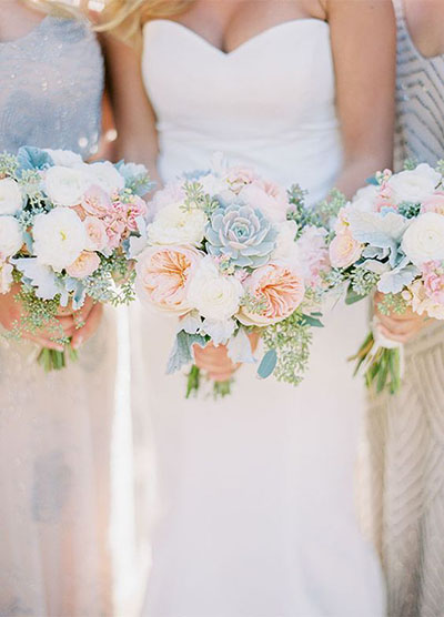 Wedding Flower Ideas | Spring Bridal Bouquet with Succulents