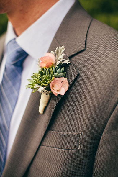 Wedding Flower Ideas | Succulent Boutonniere for Spring Wedding