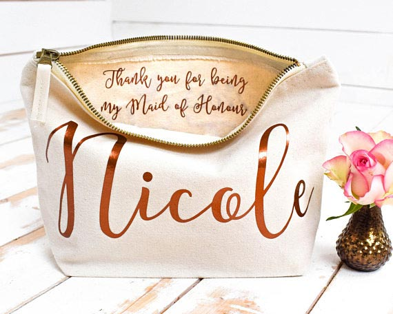 Bridesmaid Gift Ideas | Make-Up Bag with Custom Message