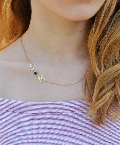 Bridesmaid Gift Ideas | Personalized Neckalce with Initials and Birthstone