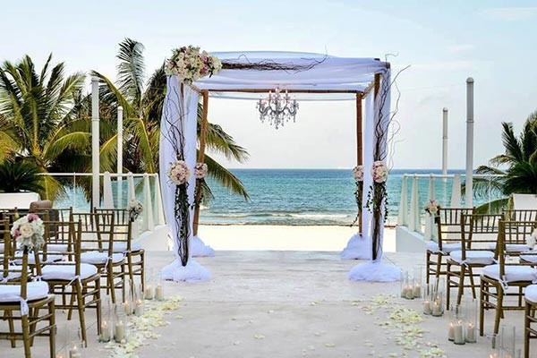 Destination Weddings in Mexico | Rivieria Maya | Patio near the Beach Wedding Ceremony