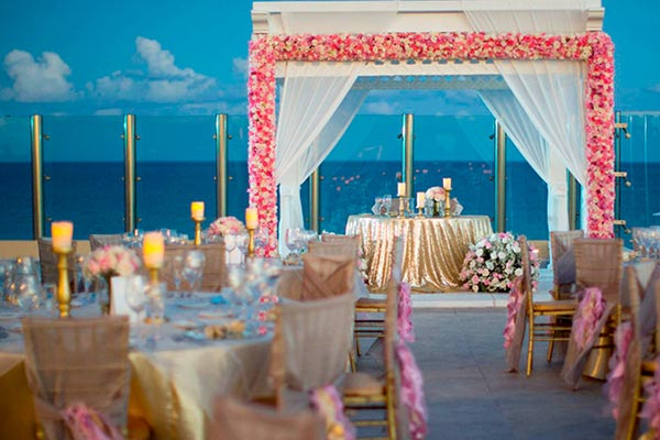 Destination Weddings in Mexico | Rivieria Maya | Luxurious Rooftop Reception for Indian Wedding