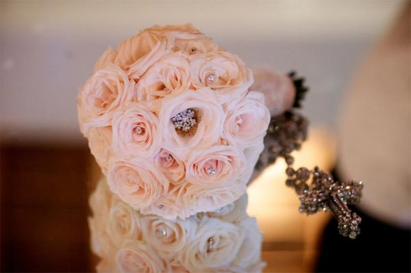 Celebrity Wedding Photos and Ideas: Blush and Brooch Bridal Bouquet