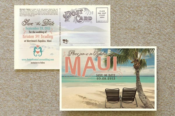 Destination Wedding Ideas | Invitations and Save the Date Designs | Postcard Save the Dates