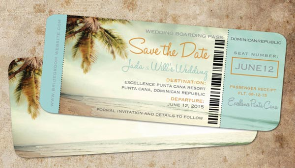 Destination Wedding Ideas | Invitations and Save the Date Designs | Boarding Pass Save the Dates