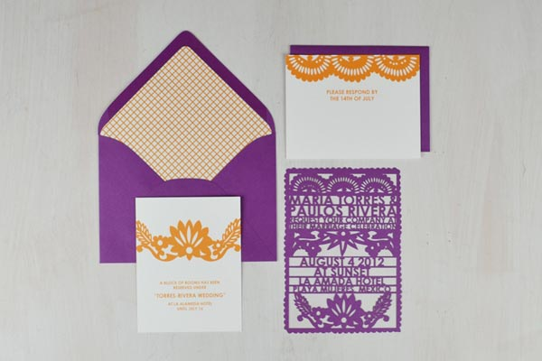 Destination Wedding Ideas | Invitations and Save the Date Designs | Papel Picado Wedding Invitations