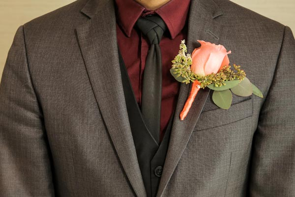 Peach Boutonniere | Coral Wedding Ideas | Pantone Color of the Year | Peach Weddings