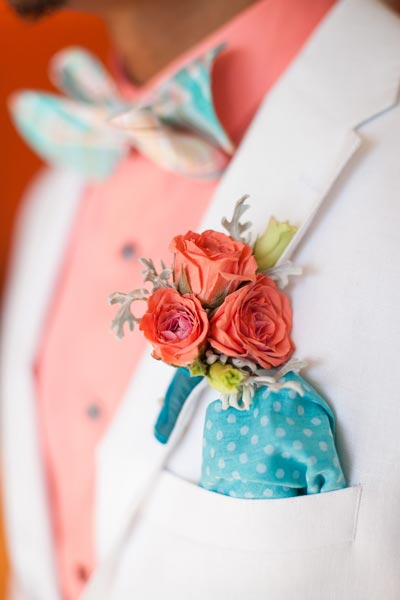 Coral and Teal Boutonniere | Coral Wedding Ideas | Pantone Color of the Year | Peach Weddings
