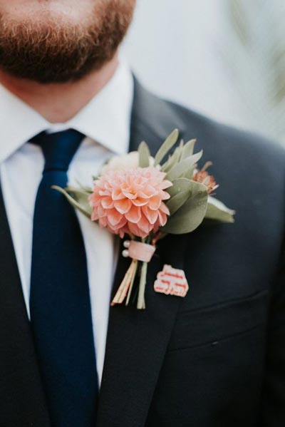 Coral Boutonniere | Coral Wedding Ideas | Pantone Color of the Year | Peach Weddings