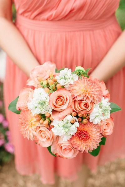 Coral Bridesmaid Bouquet | Coral Wedding Ideas | Pantone Color of the Year | Peach Weddings
