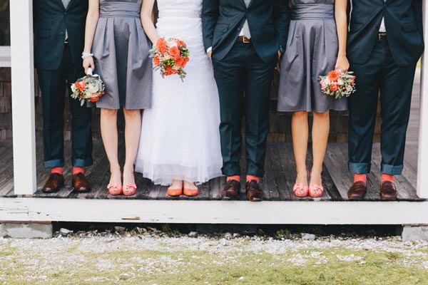 Coral Wedding Shoes | Coral Wedding Socks | Coral Wedding Ideas | Pantone Color of the Year | Peach Weddings