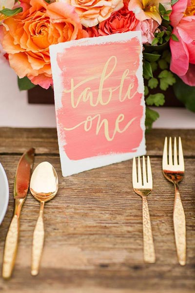 Coral Table Numbers | Coral Wedding Ideas | Pantone Color of the Year | Peach Weddings