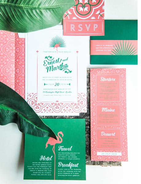 Tropical Coral Wedding Inviations | Coral Wedding Ideas | Pantone Color of the Year | Peach Weddings