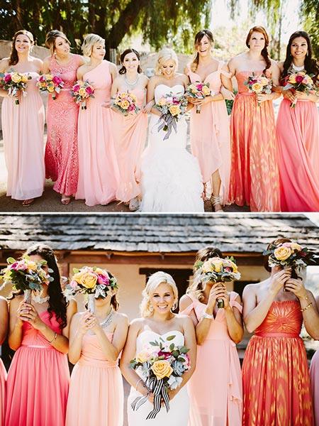 Mismatched Coral Bridesmaids Dresses | Coral Wedding Ideas | Pantone Color of the Year | Peach Weddings