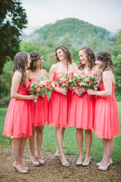 Coral Bridesmaids Dresses | Coral Wedding Ideas | Pantone Color of the Year | Peach Weddings