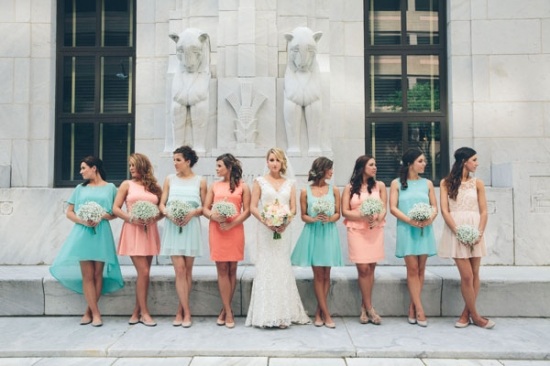 Coral and Teal Bridesmaids Dresses | Coral Wedding Ideas | Pantone Color of the Year | Peach Weddings